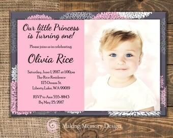 Pink and Grey Birthday Invitation.
