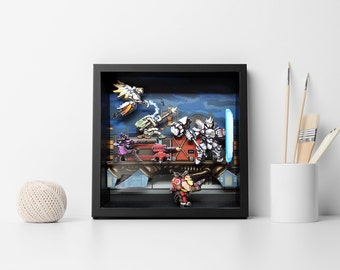 Unique Overwatch -  Move the Payload 3d 8 bit Pixel Art Shadow Box Diorama Blizzard PS4 PC Xbox Retro Video game Arcade Art for Man Cave