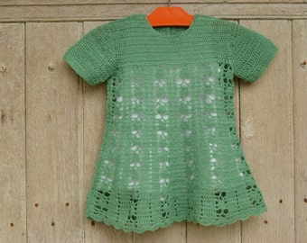 Vintage 70's 80's / little girl / hand knitted green dress and her white lingerie