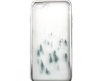 iPhone Silver Rim Soft Phone Case Forest Fog
