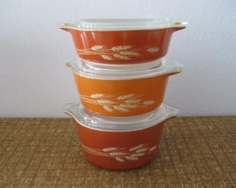 Set of 3 Pyrex Dishes Vintage Autumn Harvest Cinderella Covered Casserole Dishes Lids No. 471-473