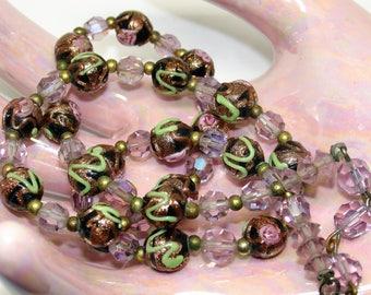 Antique Black Venetian Wedding Cake Necklace Murano Copper Aventurine Lampwork Beads Green Squiggles Pink Rosebuds Iridescent Crystals