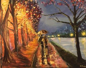Walking in the rain Acrylic on Canvas