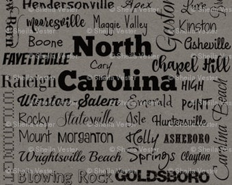 North Carolina Cities fabric - Fat Quarter - green and black - grey and black