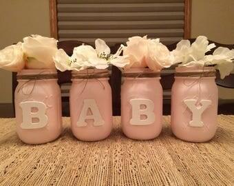 "Decorative Mason Jars- ""BABY"""