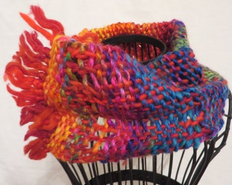 handwoven cowl, infinity scarf, wearable art, rainbow-colours