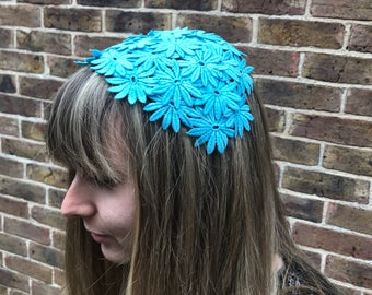 Turquoise Half Hat, Aqua Hair Accessory, Lace Headpiece, Vintage Style Hair Accessory, 40's Hat, 50's Hat, Goodwood Revival, Teal Hat