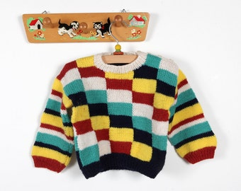 Vintage clothing-Checkered hand-knitted sweater