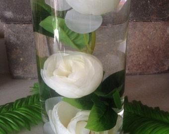 Submerged silk flower centerpiece, 3 White Ranunculus Silk Flowers for DIY submerged centerpiece,  Ranunculus silk flower  head