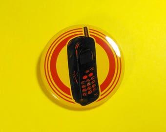 Retro Mobile Phone Pin Button.