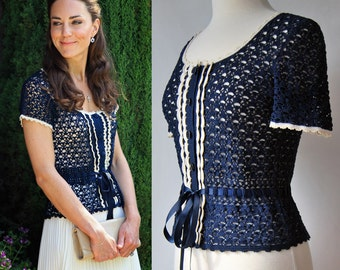Kate Middleton blouse. Crochet blouse. Royal blouse. Inspired by Kate Middleton. Cotton top.