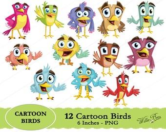 Cartoon Bird Clip Art - 6 Inches - PNG Files - Bird - Cartoon - Bird Images - Cartoon Clipart - Instant Download
