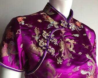 TH fashion XXL (M) Purple Pure Silk Dragon Brocarde Chinoiserie Traditional 90's