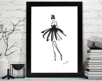 Fashion Illustration of a Ballet Girl in black white and red brush pen. Printable.