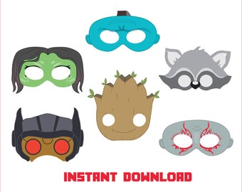 Guardians of the Galaxy mask, Galaxy Guardians Party Props, Rocket, Gamora, Star-Lord Photo Booths, Party Backdrops - Instant Download