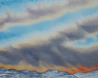 Cloud Streams - Original Skyscapes watercolour painting, part of my Skyscapes series