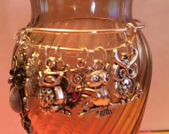 I Love Owls Charm Bangle Bracelet/Owl Charm Bangle Bracelet/I Love Owls/I Love Owls Jewelry/Owl Jewelry