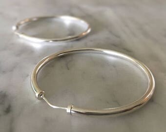 Sterling Silver Hoop Earrings - Large Medium Hoops - 925 - Simple Jewelry - Minimalist Modern Jewellery - Boho