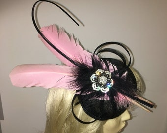 Black and Pink Feather & Crystal Fascinator