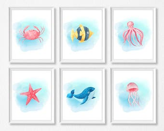 Sea Animal Art Set, Sea Animal Nursery Prints, Crab, Fish, Starfish, Jellyfish, Octopus, Whale, Marine Nursery, Ocean Nursery Set