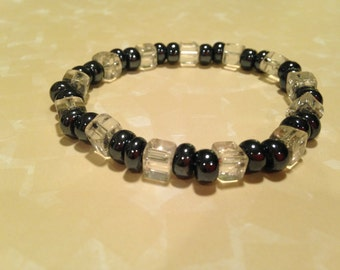 Ice and black bead stretchy bracelet