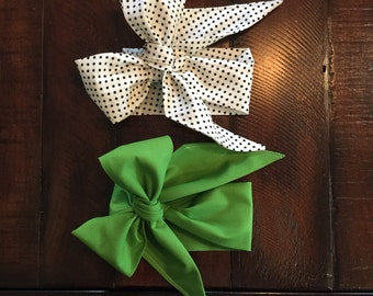 Big Bow Headwrap Duo- Petite Polka Dot & Green