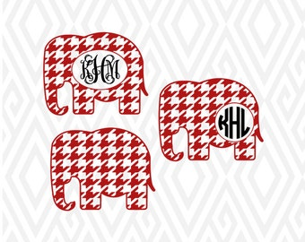 Houndstooth Monogram Elephant Cuttable Design in SVG; DXF; PNG; Ai; Pdf; Eps