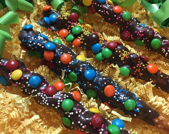 M&M Chocolate Covered Pretzel Rods, Birthday Party Favors for Boys or Girls, Blue Yellow Orange Green Pretzels, Candy Dessert Table, Sweets