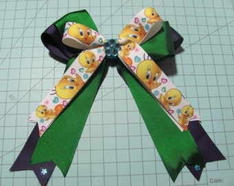 Tweety Bird Style Fancy Stacked Ribbon Hair Bow