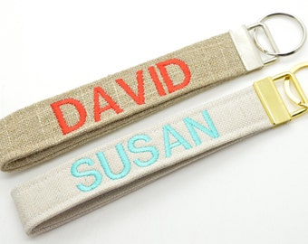 Personalized Keychain with Name Monogram Embroidered Fob Wristlet Soft Burlap