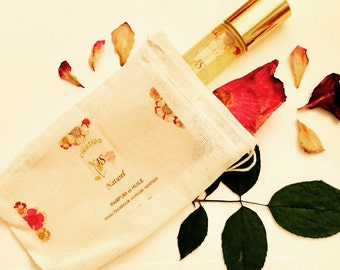 10 ml Roll-On small glass bottle / Oil based / Red Rose / Mix Flora Natural  Perfume/ with Muslin Bag