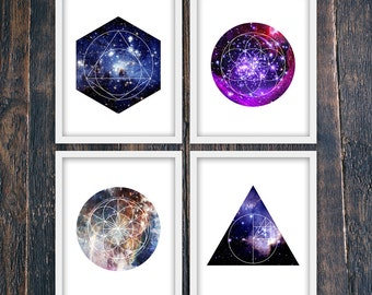 Set Of Four, Modern Contemporary Star Posters, Geometric PRINTABLE Star Prints, Minimalist Wall Art, Contemporary Office Art (#12333-16199)