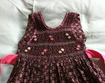 6-7 years-Purple smock girl dress embroderied-summer cotton girl dress-beach girl dress-cotton girl dress /robe smock bordeaux fille