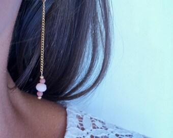 Earrings gold, dangling earrings, plated gold, jewelry woman, Bohemian glass, pink and purple, handmade by PELVA