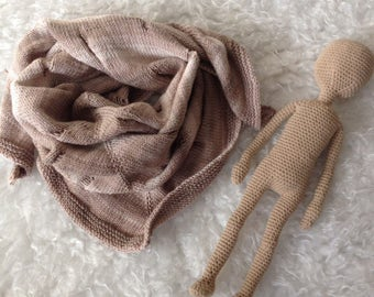 Ecology New Cream Brown Hand Knitted Flaw Handmade Knitting Shawl Wrap Baktus 100% cotton
