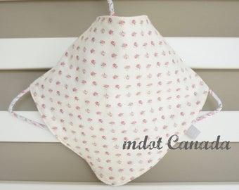 baby bib, bandana bib, drool bib, pink flower buds