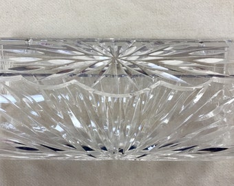 Lucite vintage 1950's clear carved clutch PURSE