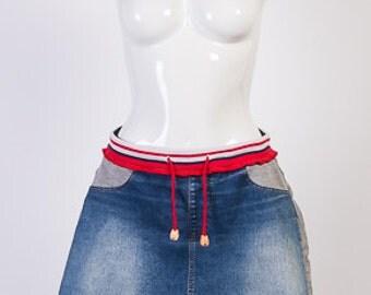 Vintage skirts, Women's skirt, Denim Skirt, A-line Skirt, Sports Style, Size 38 EU
