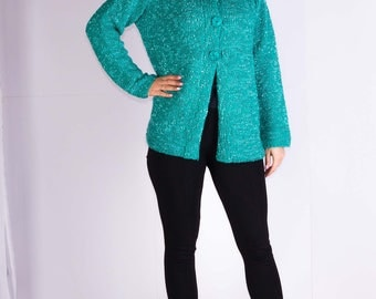 Womans jacket,Knitted sweater,Casual jacket,Green jacket,Thick jacket,Size 16 UK
