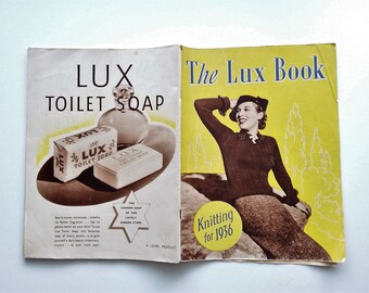 The LUX Book, knitting for 1936, rare original 1930s vintage knitting pattern book, 50 pages