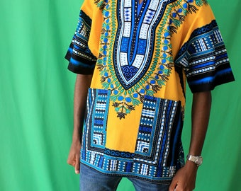 Yellow/Blue Dashiki African Print Unisex