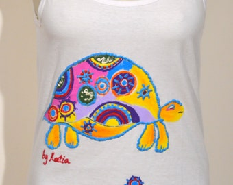 Hand painted White Tank Top Turtle