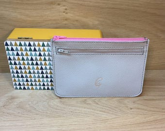 Grey and pink calfskin pouch