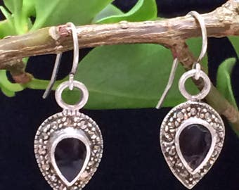925 Silver and Black stone earrings