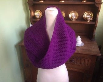 Infinity scarf, Deep Purple scarf, Purple cowl, Hand Made, Hand crochet, Crocheted infinity scarf, Crochet scarf, Deep purple acrylic yarn,