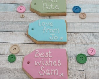 birthday gift tag cookies, male gift, female present, birthday treat, biscuits, gift for him, her, personalised gift, best friend, add on