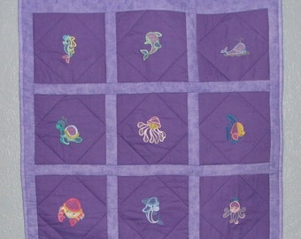 Purple Sea Creature Baby Blanket