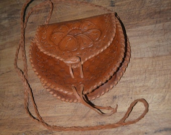 Womens Vintage Leather Floral Tooled Purse with Long Shoulder Strap - Boho Hippie Leather Purse