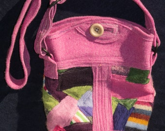 Pink Upcycled Lined Wool Handabg with lined Zippered Pockets