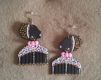 African Earrings,Afrocentric,Hand-painted Earrings,Queen,Goddess,TWA,Abstract,Animal Print,Pink,Black,Gold,White,Leopard Print Earrings